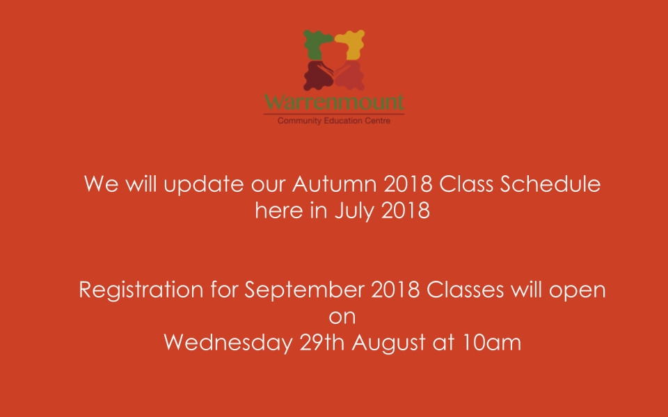Registration for September 2018 classes opens on 29th August at 10am